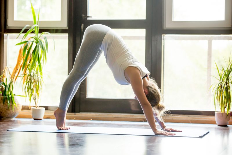 Downward dog with heel lifts