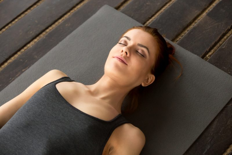 Savasana – Corpse Pose with props to open the chest