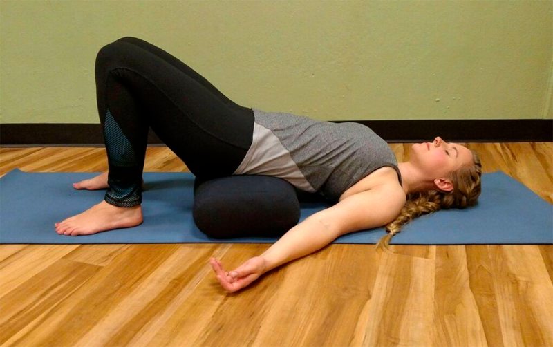 Setu Bandha Sarvangasana — Supported Bridge Pose: 2 minutes